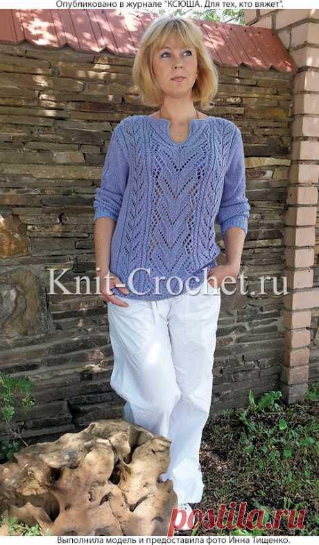 Пуловер с ажурными узорами спицами. - Пуловеры женские спицами - Вязание спицами - Каталог статей - Вязание спицами и крючком