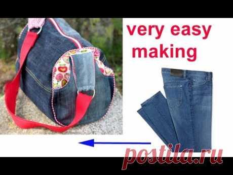 Сделай сам старые джинсы в хозяйственную сумку, дорожную сумку,