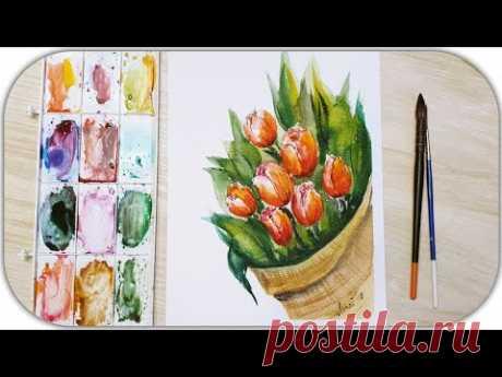 Рисуем тюльпаны акварелью! Запись трансляции!