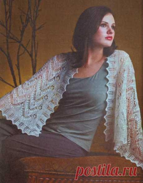 Вяжем спицами ажурную шаль. Вязание спицами со схемами   Handmade24