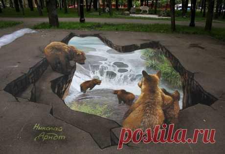 Потрясающе реалистичный уличный арт: 3D-рисунки Николая Арндта