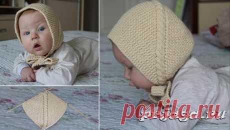 Шапочка спицами малышу с диагональной косой