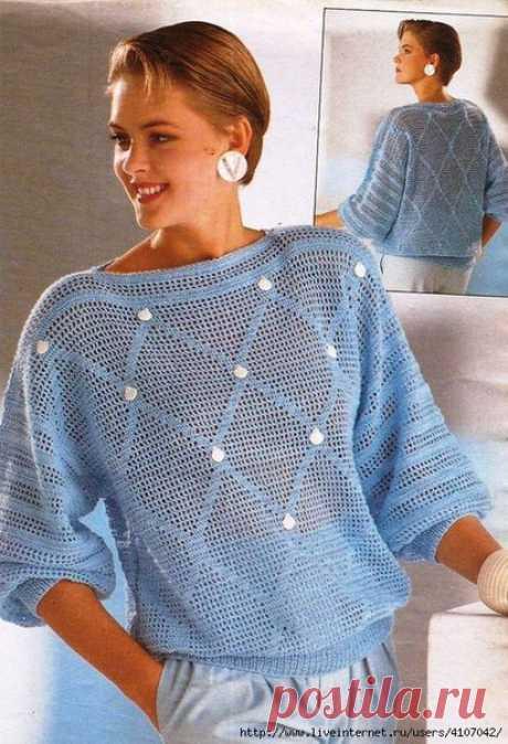 Филейный узор для пуловера.
