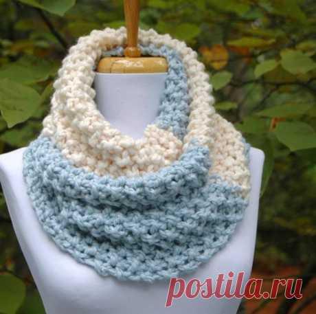 Бесконечность шарф UNC Tarheels, ручной вязки, коренастый шарф, Colorblock шарф   PhylPhil - Вязание на ArtFire