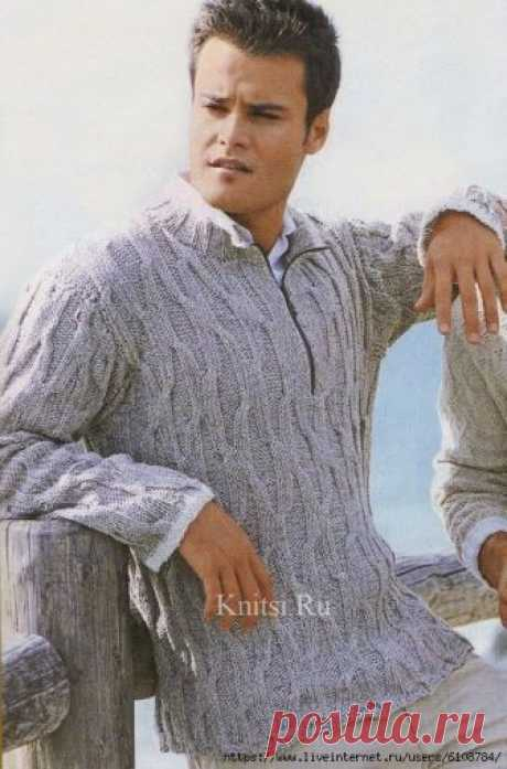 Пуловер с воротником-стойкой на молнии