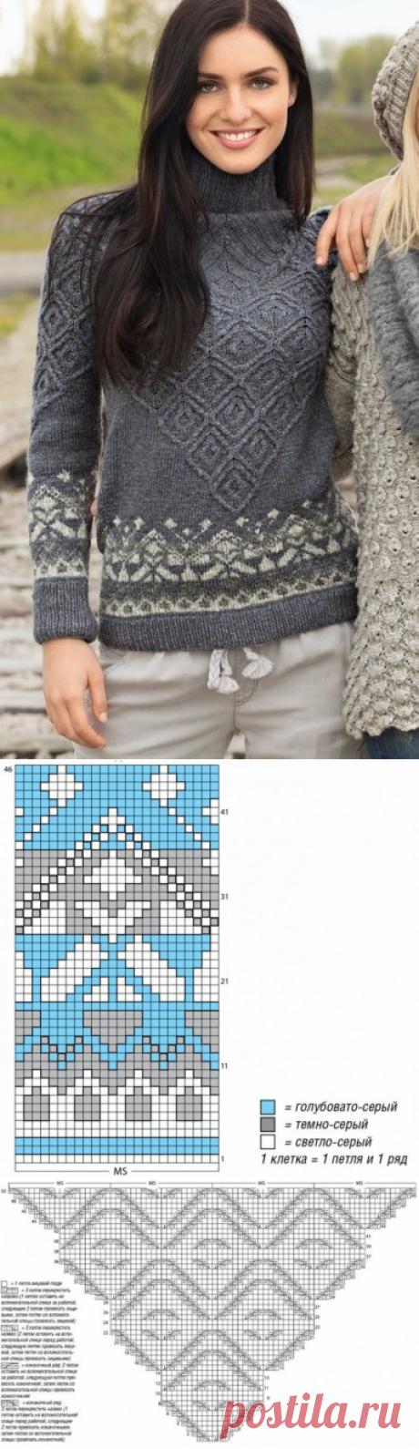 306005b61ff Интересный свитер  жаккардовые и рельефные узоры из категории Интересные  идеи – Вязаные идеи