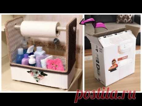 KARTON KUTUDAN BANYO DÜZENLEYİCİ YAPIMI // Making Storage Box From Cardboard