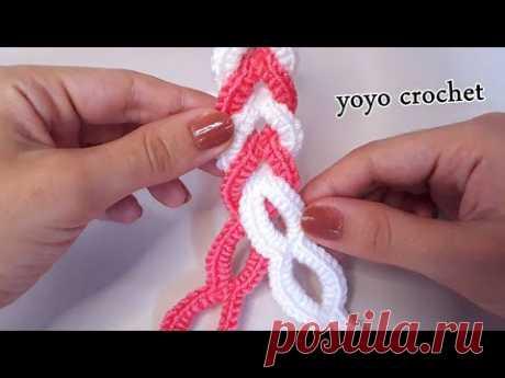 كروشية ضفيرة بخطوات سهلة جداً - Crochet braid in easy steps#يويو_كروشية
