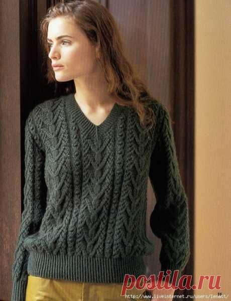 Пуловер с V-образным вырезом. Вяжем спицами