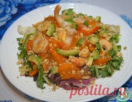 Салат с креветками, хурмой и авокадо – кулинарный рецепт