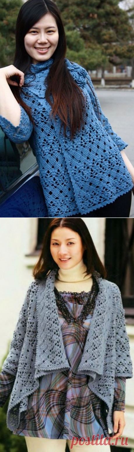 Weather becomes more cool, a hook a shawl style of a jacket. (the scheme is attached) - the magazine knitting to the sister - the blog of semiconductors