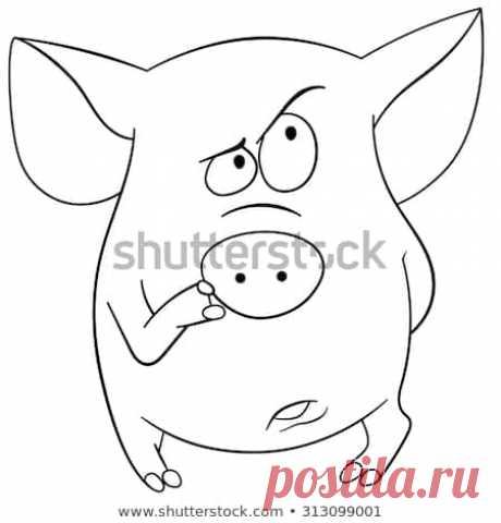 Стоковая векторная графика «Cute Cartoon Pig Thinking About Something» (без лицензионных платежей), 313099001: Shutterstock