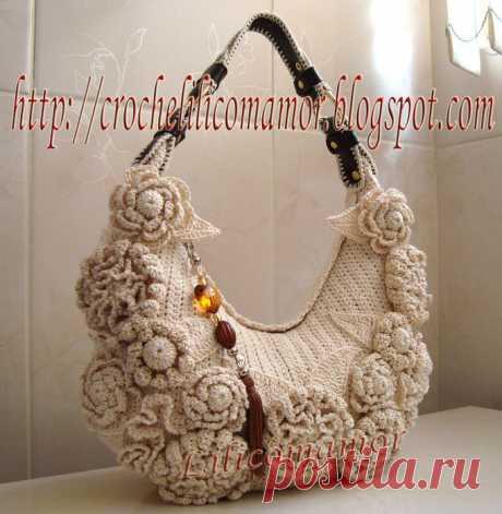 Оригинальные вязано-валяные сумки с цветами — Делаем руками