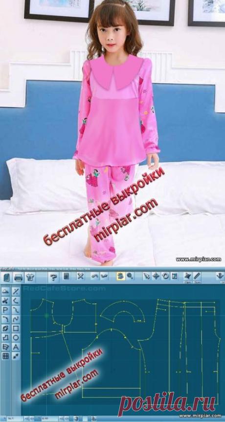 Пижама для девочки. Готовые бесплатные выкройки в натуральную величину в пяти размерах free pattern, пижама для девочки, детская одежда, pattern sewing, пижамы для детей, выкройка пижамы, детские выкройки, детские пижамы, выкройка, выкройки скачать, выкройки бесплатно, готовые выкройки