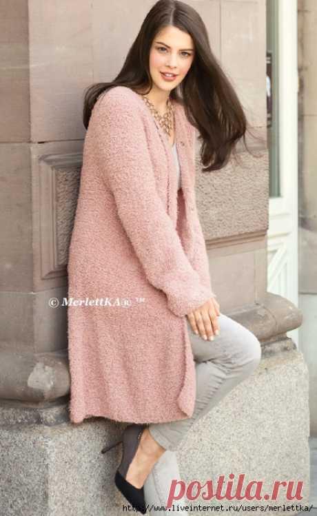 Вязание спицами для женщин - Розовое полупальто