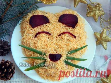Новогодний салат Крыса - украшение праздничного стола