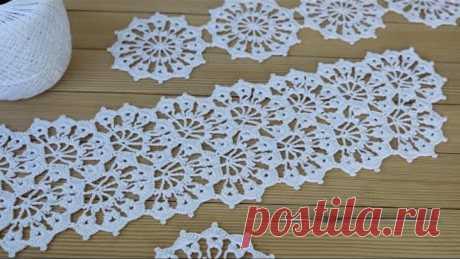 Ажурное ЛЕНТОЧНОЕ КРУЖЕВО вязание крючком МАСТЕР-КЛАСС схема кружева Crochet ribbon lace pattern