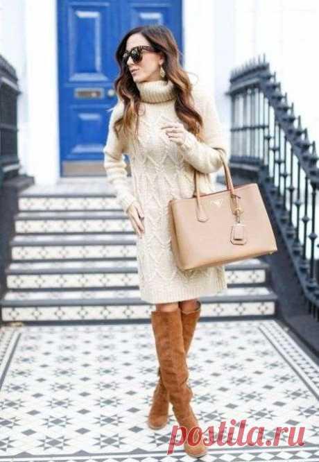 Платье свитер с воротником - Ksena
