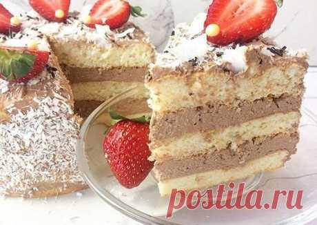 Тортик с творожно-шоколадным кремом