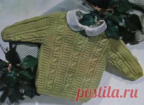 Пуловер спицами, вяжем детям