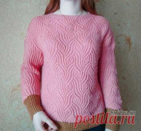 Пуловер с рельефным узором в технике бриошь. Работа Вагановой Татьяны, Вязание для женщин