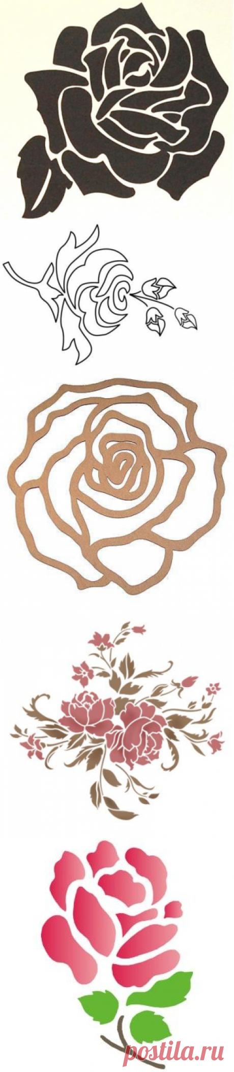 трафареты роз,розовые трафареты