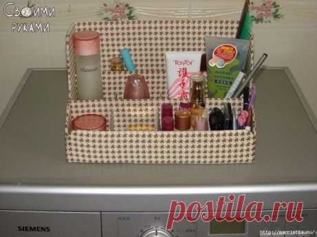 Shelf for cosmetics from a cardboard and fabric