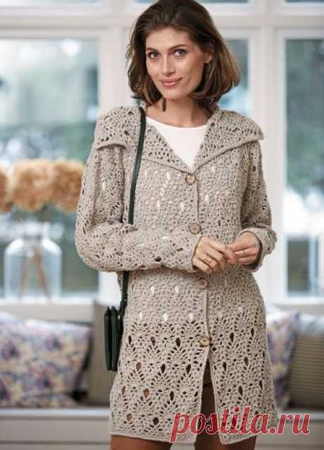 The easy openwork cardigan WILL be REQUIRED to YOU - the Yarn (53% of cotton, 33% of viscose, 14% of flax; 50 g \/ 110 m) — 17 (18) 19 hanks светло-бежевой; - hooks No. 2,5, 3 and 3,5; - 4 buttons with a diameter of 28 mm. The publication is pleasant? Also there is a wish to see more often descriptions of cardigans?
