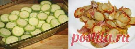 The recipe of day — Potatoes with bacon and vegetable marrows