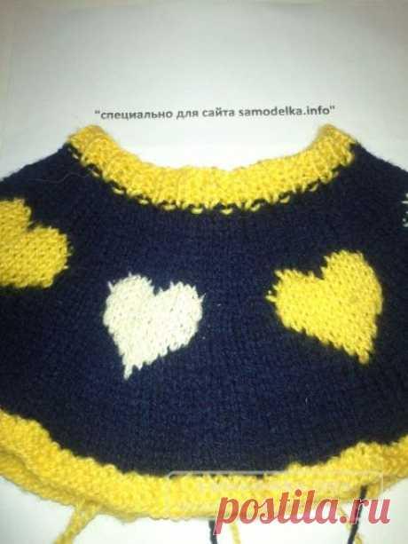 Вязаное платье для маленькой леди с сердечками своими руками