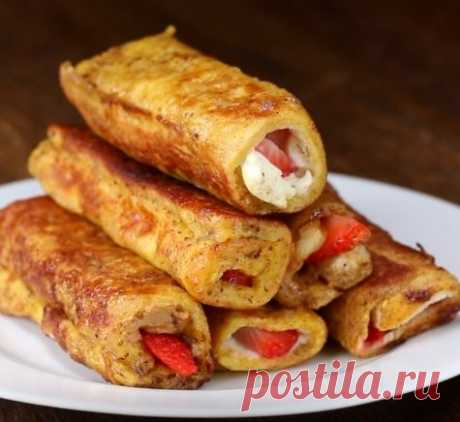 👌 Французские жареные тосты с клубникой и сливочным сыром