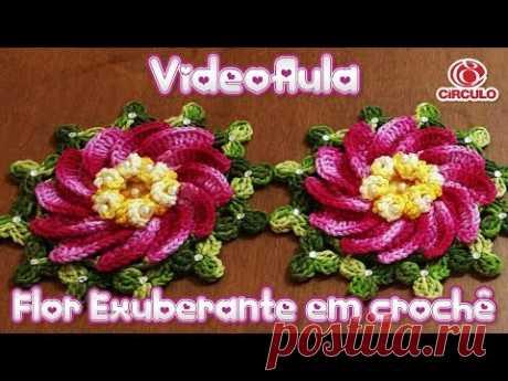 Flor Exuberante em crochê