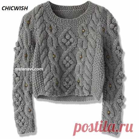 Короткий свитер спицами   Вяжем с Лана Ви