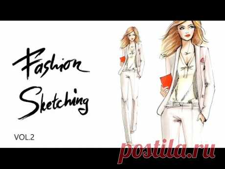 Fashion sketching Офисный стиль Часть 2  Скетч белого брючного костюма