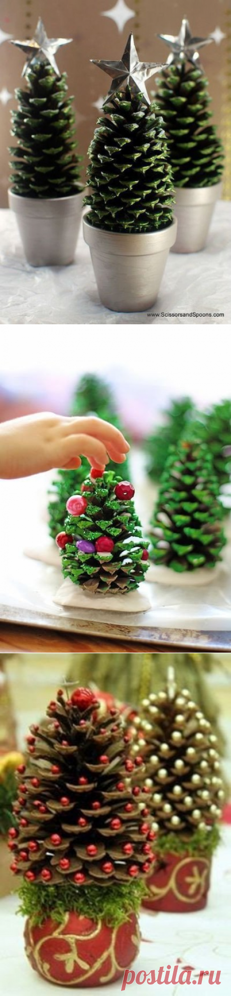 Tiny fir-trees from cones. So simple and so beautifully!