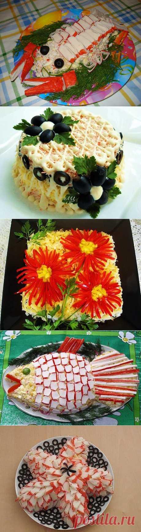 Праздничные салаты с крабовыми палочками: оформление и рецепты / Простые рецепты