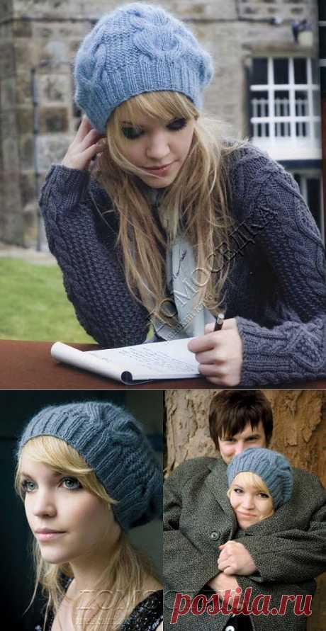 Вязаная шапка с косами | ДОМОСЕДКА