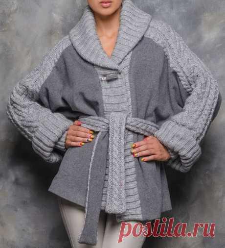 Пальто, комбинированное из ткани с вязаным трикотажем - для вдохновения. Подбор фото Простые выкройки | простые вещи  #простыевещи #шитье #пальто #идея #длявдохновения