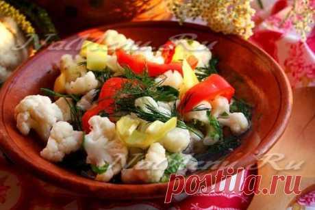 Маринованная цветная капуста с перцем на зиму - рецепт с фото