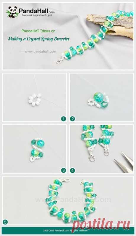 Кристаллический Браслет Весны Красивый кристалл весна браслет из трех видов бисера очень красива и отлично подходит для лета.