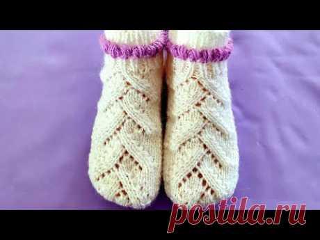 Вяжем изысканные бесшовные носки на двух спицах для женщин