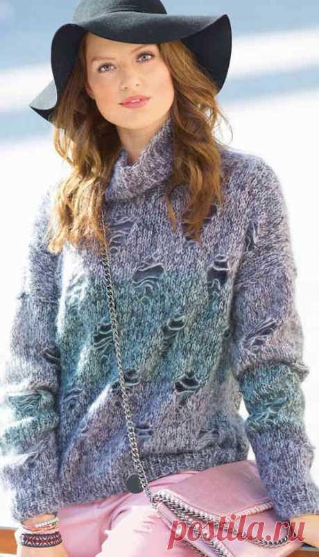 Мохеровый пуловер спицами с эффектом поношенности   Ажур