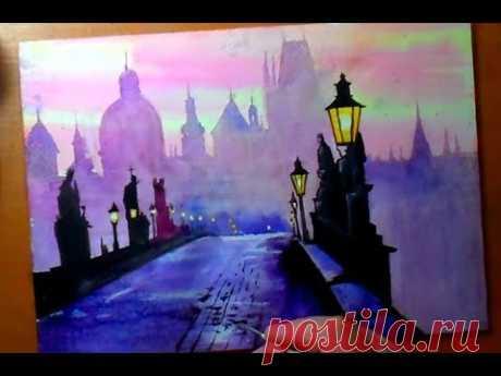 Как нарисовать город акварелью и гуашью. Карлов мост. Прага. Видеоурок