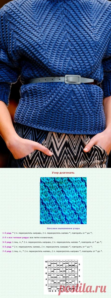 Французская диагональ от Cacharel. Модное вязание с подиумов схемы | Free Patterns