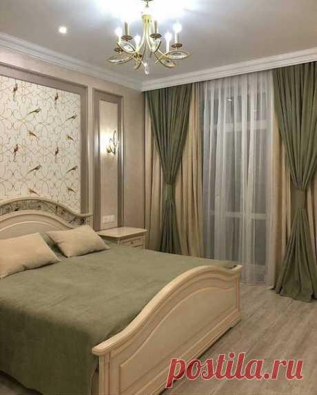 Оливково-бежевая спальня)