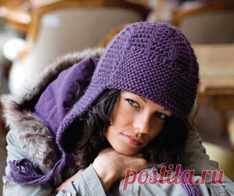 Вязание спицами шапки- ушанки