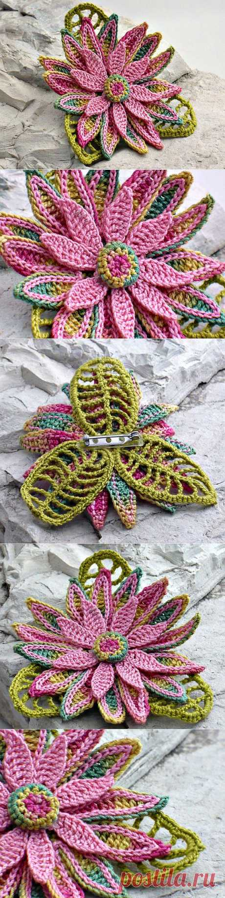 Crochet Brooch Irish Crochet Pin Daisy Pink от Nothingbutstring