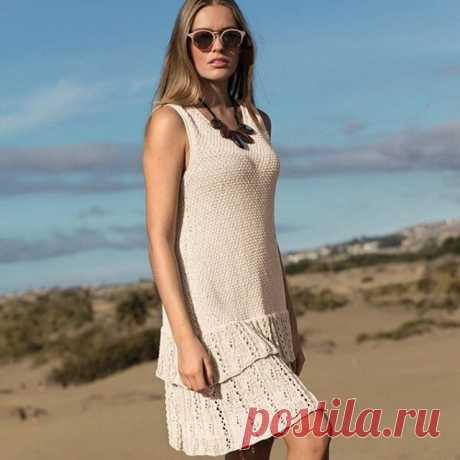 Летнее платья с оборкой на юбке спицами - Портал рукоделия и моды