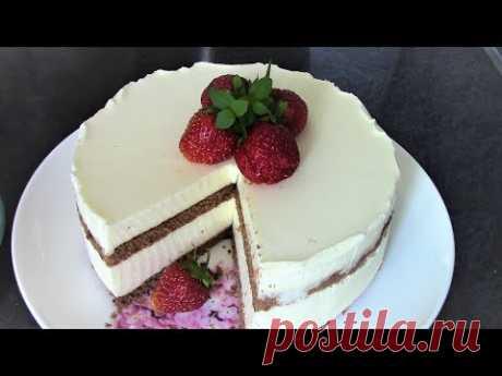 Торт со сметанным суфле без выпечки - простой и очень вкусный.