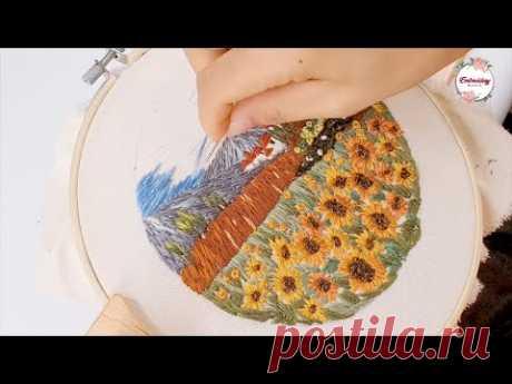 Hand Embroidery World - Sunflower Field Landscape Embroidery - Landscape Embroidery